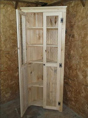 Custom Made Rustic And Distressed Corner Cabinets