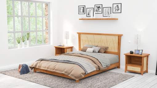 Custom Made Platform Bed Queen Size Cherry, King, Low Bed Frame, Solid Wood, Headboard,