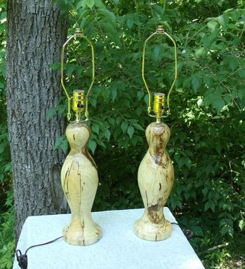 Custom Made Unique Hand Turned Spalted Hackberry Lamps