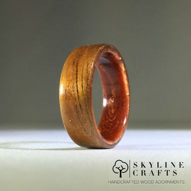 Custom Made Koa Bentwood Ring. Koa Wood Ring With Copper Resin Core.