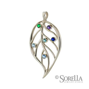 Custom Made Grandmother's/Mother's Birthstone Leaf Pendant In Sterling Silver