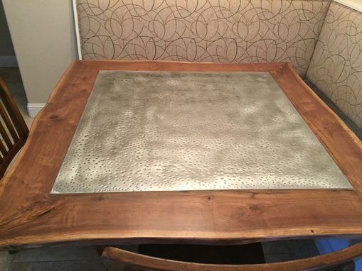 Custom Made Reclaimed Live Edge Table With Hammered Zinc Insert