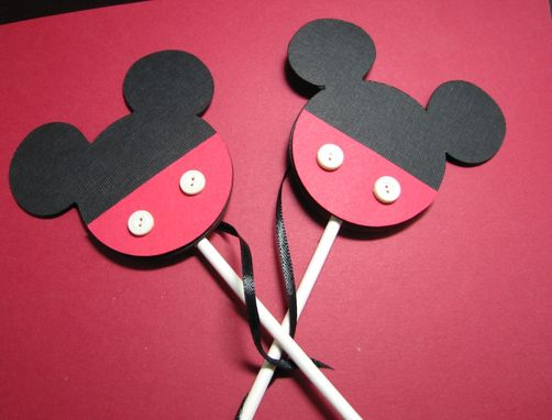 Custom Made Mickey Mouse Cup Cake Toppers, Set Of 12