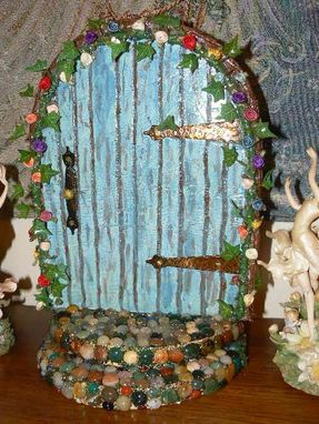 Custom Made Magickal Large Fairy Or Gnome Door With Polished Rock Steps