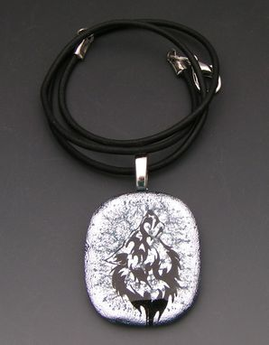 Custom Made Silver Wolf In Laser Etched Dichroic Fused Glass