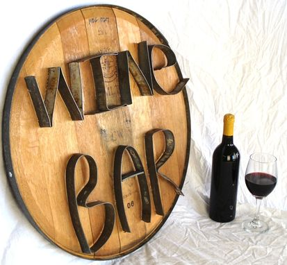 Custom Made Barrel Head And Ring Art -  Wine Bar  - Authentic Wine Barrel Head  Sign