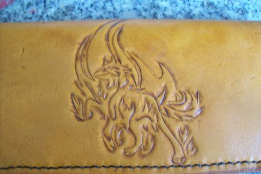 Custom Made Custom Leather Biker Wallet With Wolf And Flames Design