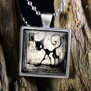 Custom Made Black Cat & Moon Sterling Silver Necklace 81-Ssn