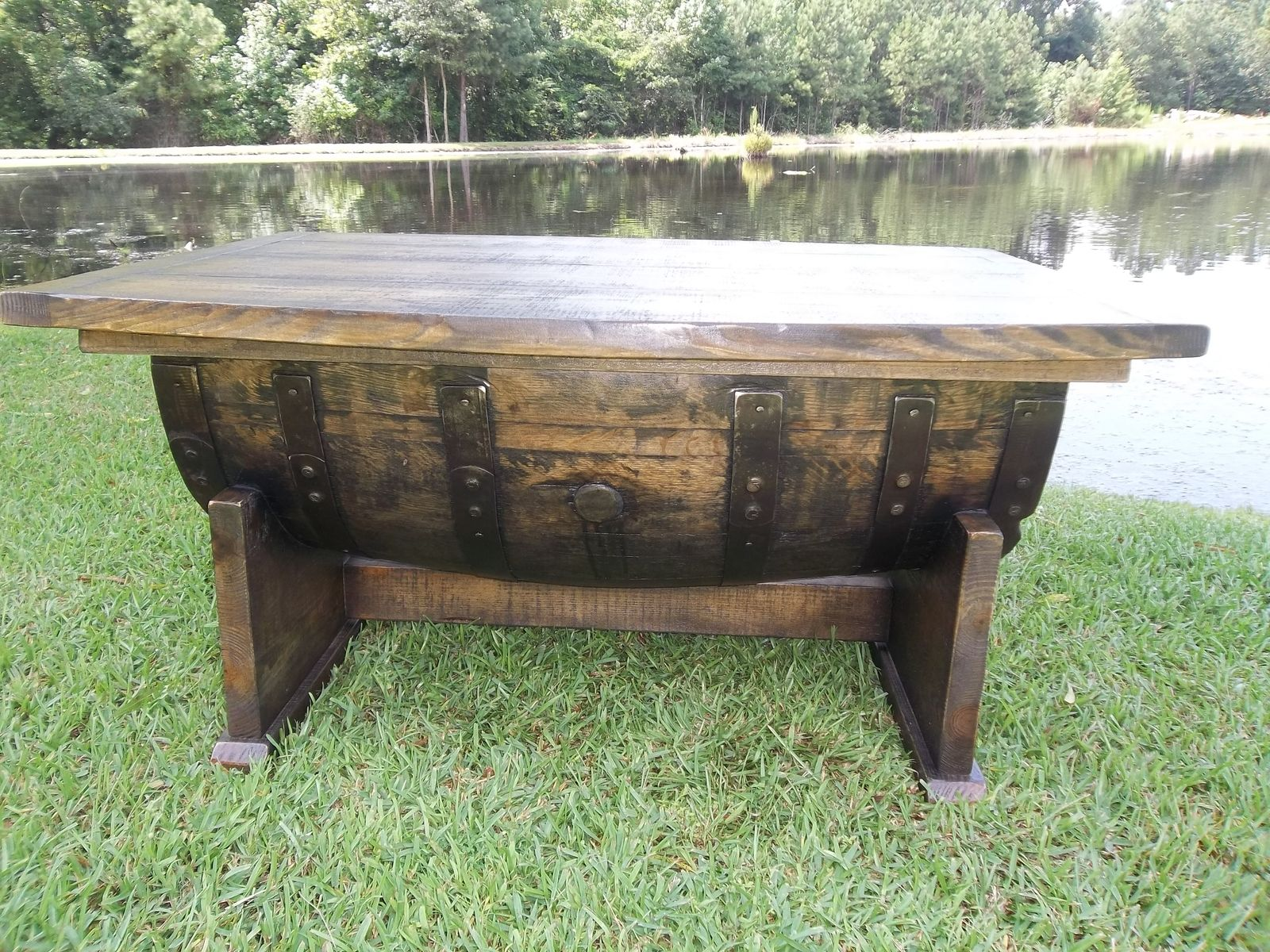 custom made whiskey bourbon barrel coffee table by old southern