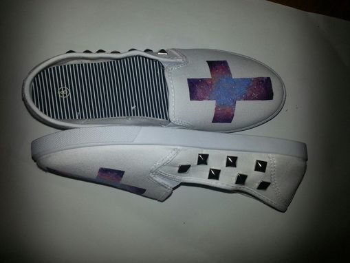 Custom Made Womens Hand Painted Galaxy Cross Stud White Shoes