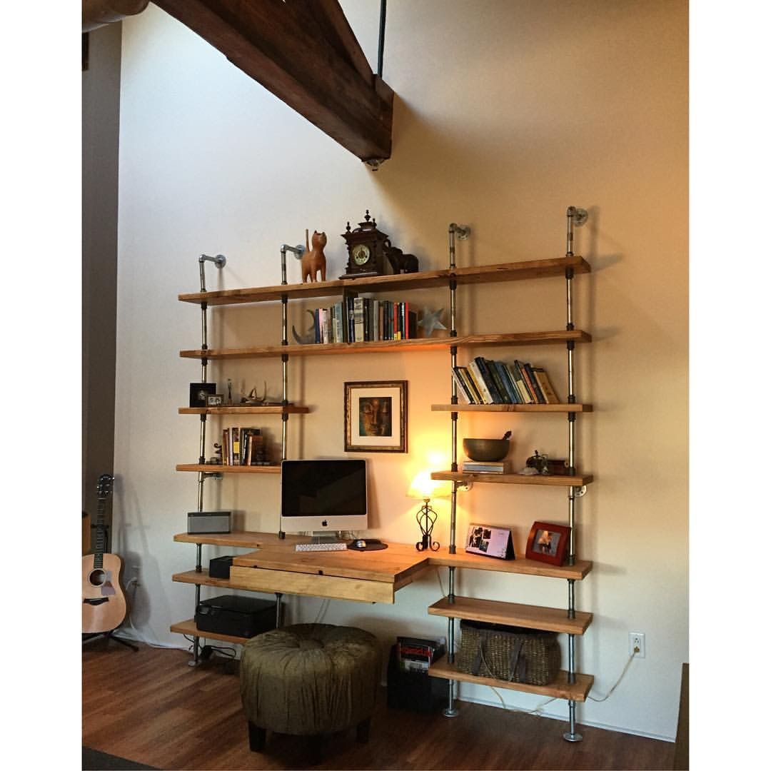 Custom Made Shelving Unit W Galvanized Pipe