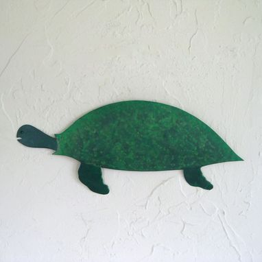 "Custom Made Handmade Upcycled Metal Green Turtle Wall Art Sculpture ""Charlie''"