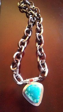 Custom Made Turquoise, Ebony Wood, Coral, And Sterling Silver Necklace As A Gift To A Mother