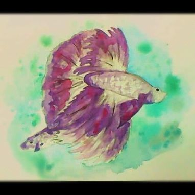 Custom Made Watercolor Purple Beta Fish