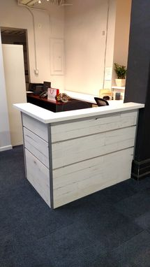 Custom Made White Washed Reclaimed Wood And Steel Reception Desk