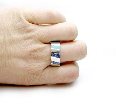 Custom Made 14kt White Gold Inlay Ring - Turquoise Lapiz Lazuli Gold Inlay Ring - Wedding Band