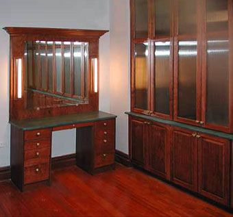Custom Made Custom Closet & Dressing Table With Fluted Glass Doors