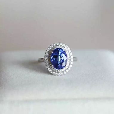 Custom Made 3.15 Carat Tanzanite Ring In 14k White Gold