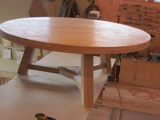 "Custom Made 80"" White Oak Round Dining Table"