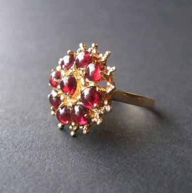 Custom Made Unique Garnet And Gold Vintage Ring