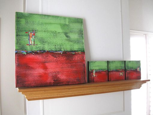 Custom Made Red Abstract Original Acrylic Paintings Triptych