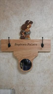 Custom Made Child's Coat Rack With Disney Character And Mirror