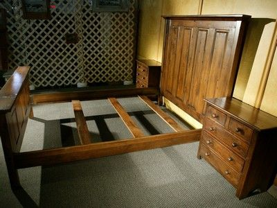 Custom Made Wooden Bed In Antique Walnut Finish