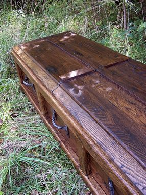 Custom Made Reclaimed Wood Custom Casket With Wrought Iron Handles