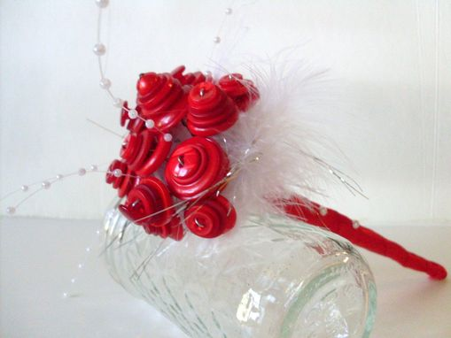 Custom Made Red Buttons Wedding Toss Bouquet