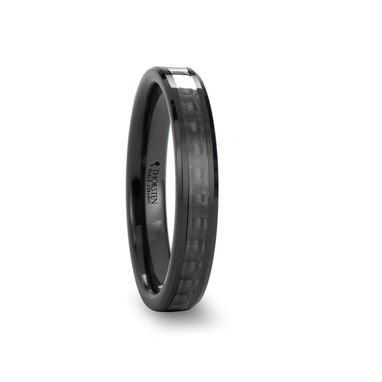 Custom Made Onyx Black Ceramic Ring With Black Carbon Fiber Inlaid - 4mm - 12mm