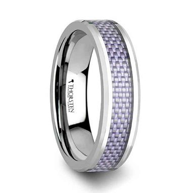 Custom Made Iris Beveled Tungsten Carbide Ring With Purple Carbon Fiber Inlay - 4mm & 6mm