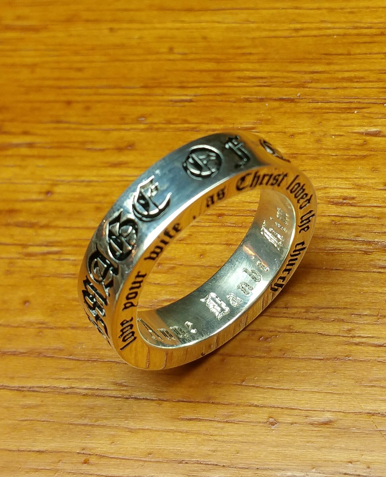 Custom Made Customized Old English Font Wedding Bands Ring