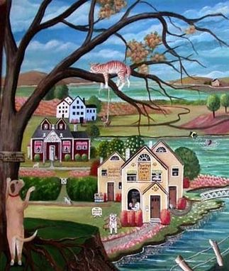 "Custom Made Dogsville (18"" X 24"" Original Acrylic On Canvas For Sale)"