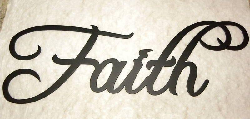 Handmade Faith Word Decorative Metal Wall Art By Say It