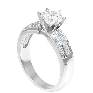 Custom Made Diamond Engagement Ring In 14k White Gold, Proposal Ring, Wedding Ring