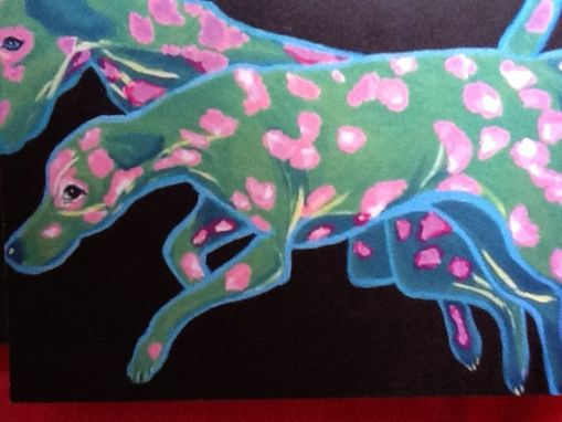 Custom Made Pink And Green Dalmatian Notecard Set