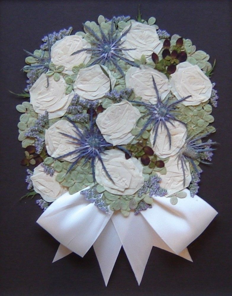 Hand Made Pressed Flower Art Bridal Bouquet Flowers Only By Pressed Garden