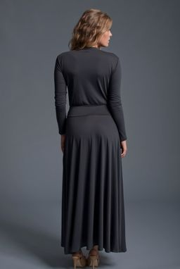 Custom Made Wrap Maxi Dress In Charcoal Jersey Knit