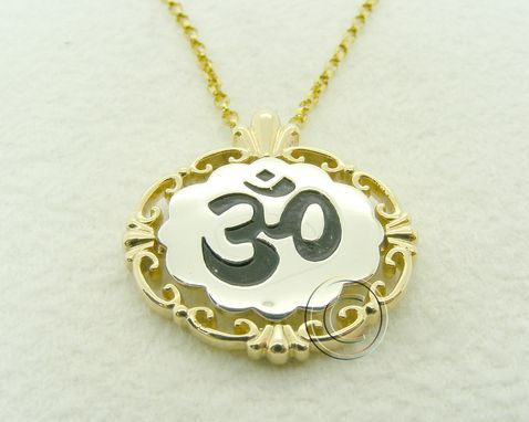 Custom Made Om Silver And Gold Pendant