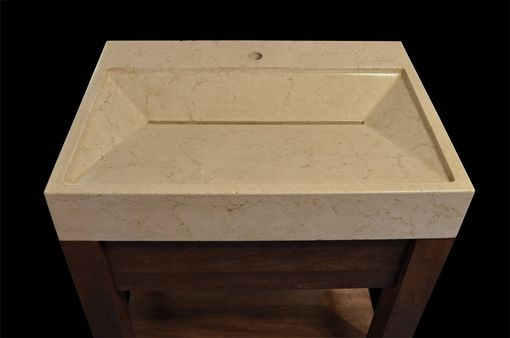 Custom Made Custom Vanity - Hand-Pressed Yuma Concrete Sink With Solid Wood Base