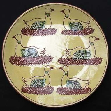 Custom Made Ceramic Plate, Six Geese A-Laying