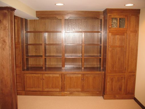 Custom Made Entertainment Center & Library Shelving