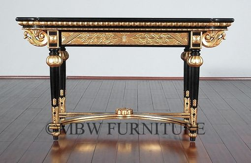 Custom Made 4ft Wide Solid Mahogany Black / Gold Italian Console Table