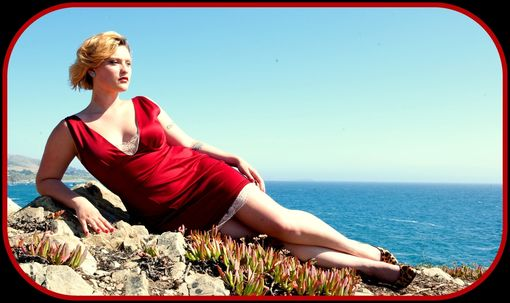Custom Made Red Hot Cotton Sateen Wiggle Dress With Pleated Tail And Rose Lace