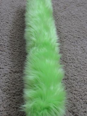 Custom Made Lime Green Long Pile Luxury Shag Faux Fur Tail With A Loop For Belt Or Pin On