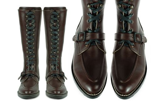 Custom Made Rimbaud Lace Up Tall Boots, Moc Toe, Goodyear Welt, Dark Brown Leather Combat. (All Sizes)