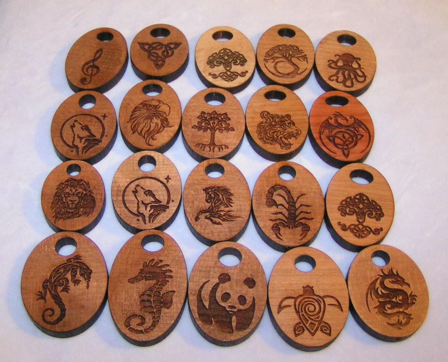Custom laser etched wood pendants by creations in dichroic glass custom made laser etched wood pendants aloadofball Gallery