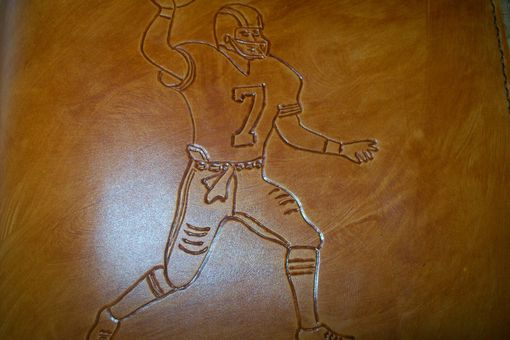 Custom Made Custom Leather Portfolio With Football Player And Phrase