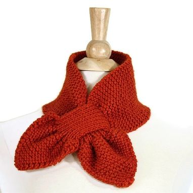 Custom Made Orange Knitted Scarf Keyhole Scarf Unique Warm Adult Winter