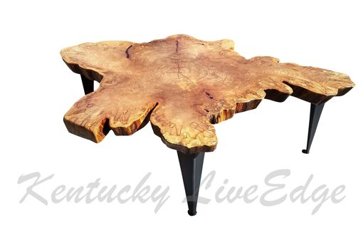 Custom Made Large Tree Slice Coffee Table- Live Edge Table- Round Coffee Table- Natural Edges- Crosscut Slab